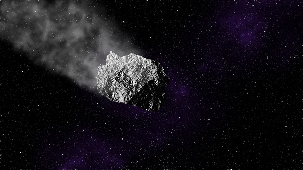 An asteroid falling