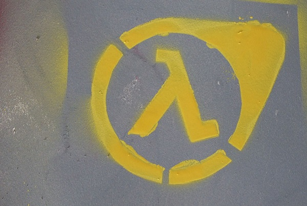 Half Life logo painted on a wall