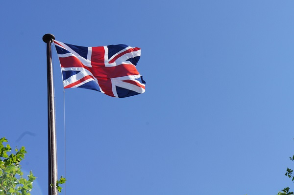 U.K.flag on a pole
